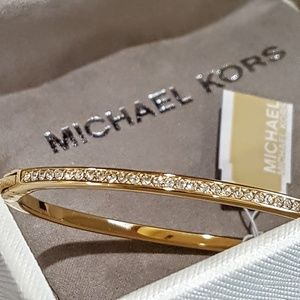 Michael Kors Gold Pavè Hinged Bracelet